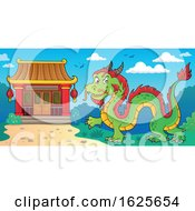 Green And Red Chinese Dragon Near A Temple