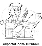 January 20th, 2019: Black And White Dentist Standing By A Chair by visekart