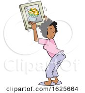 Poster, Art Print Of Cartoon Black Woman Hanging A Flower Picture