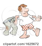 Cartoon White Man In Boxers Carrying His Iron Burnt Pants