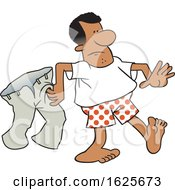Cartoon Black Man In Boxers Carrying His Pants