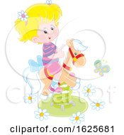 January 19th, 2019: Blond White Girl On A Horse Spring Rider Playground Toy by Alex Bannykh