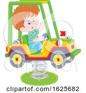 White Boy On A Horse Jeep Rider Playground Toy