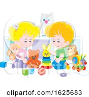 White Boy And Girl Playing With Toys