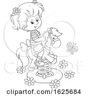 Black And White Girl On A Horse Spring Rider Playground Toy