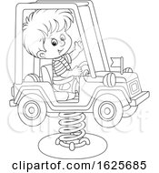 Black And White Boy On A Horse Jeep Rider Playground Toy