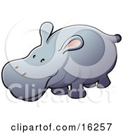 Adorable Gray Hippo With Pink Ears Clipart Illustration