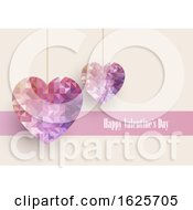 Poster, Art Print Of Valentines Day Background With Low Poly Hearts