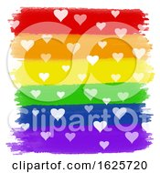 Poster, Art Print Of Hearts On Rainbow Watercolour Background