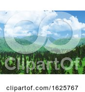 Poster, Art Print Of 3d Forest Landscape With Low Clouds