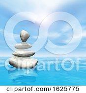 Poster, Art Print Of 3d Balancing Pebbles In Ocean