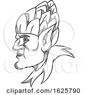 Elf Wearing Hops On Head Drawing Black And White