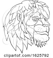 Pensive Lion Head Cartoon Black And White