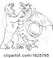 Bear Fighting Chinese Dragon Drawing Black And White