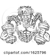 Poster, Art Print Of Buffed Athlete Dumbbells Breaking Free From Chains Drawing