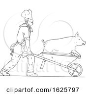 Chef With Wheelbarrow And Pig Drawing Black And White