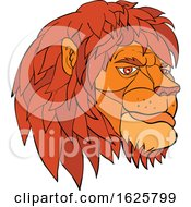 Poster, Art Print Of Ruminating Lion Head Cartoon Color