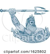 Poster, Art Print Of Poseidon Wielding Trident Drawing