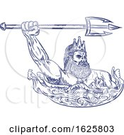 Poster, Art Print Of Triton Wielding Trident Drawing