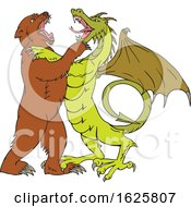 Chinese Dragon Fighting Grizzly Bear Drawing Color