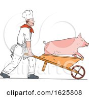 Chef Pushing Wheelbarrow And Pig Color Drawing