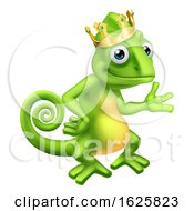 Chameleon King Crown Cartoon Lizard Character by AtStockIllustration
