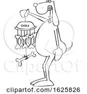 Cartoon Black And White Dog Holding A Bone Wind Chime