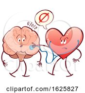 Poster, Art Print Of Heart Checking A Brain With A Stethoscope