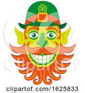 Poster, Art Print Of St Patricks Day Hipster Leprechaun Face With A Groomed Beard