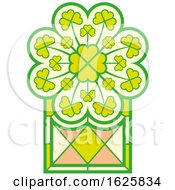 St Patricks Day Stained Glass Window With Irish Shamrocks by Zooco