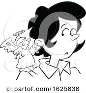 Poster, Art Print Of Cartoon Grayscale Angel On A Black Womans Shoulder