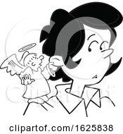 Cartoon Grayscale Angel On A Black Womans Shoulder