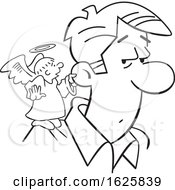 Poster, Art Print Of Cartoon Black And White Angel On A Mans Shoulder