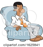 Cartoon Sleepy Black Business Man In A Chair