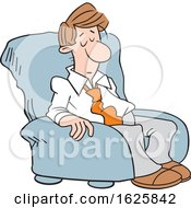 Cartoon Sleepy White Business Man In A Chair
