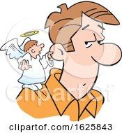 Poster, Art Print Of Cartoon Angel On A White Mans Shoulder