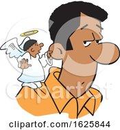 Poster, Art Print Of Cartoon Angel On A Black Mans Shoulder