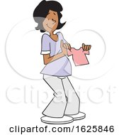 Cartoon Pregnant Black Woman Holding A Pink Baby Girl Shirt