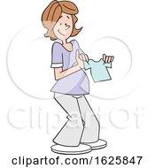 Poster, Art Print Of Cartoon Pregnant White Woman Holding A Baby Boy Shirt