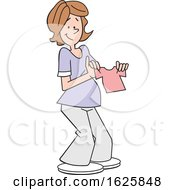 Poster, Art Print Of Cartoon Pregnant White Woman Holding A Pink Baby Girl Shirt