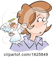 Poster, Art Print Of Cartoon Angel On A White Womans Shoulder