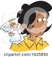 Poster, Art Print Of Cartoon Angel On A Black Womans Shoulder