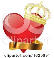 Poster, Art Print Of Red Valentines Day Heart With A Gold Crown And Ribbon