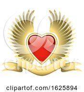 Poster, Art Print Of Red Winged Valentines Day Heart And Gold Banner