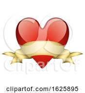 Poster, Art Print Of Red Valentines Day Heart With A Gold Banner