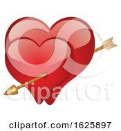Poster, Art Print Of Red Valentines Day Hearts With Cupids Arrow