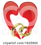 Poster, Art Print Of Red Valentines Day Heart With Engagement Rings
