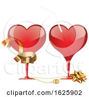 Poster, Art Print Of Red Valentines Day Heart Glasses With Ribbon A Bow And Straw
