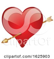 Poster, Art Print Of Red Valentines Day Heart With Cupids Arrow