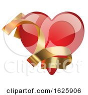 Red Valentines Day Heart With Gold Ribbon